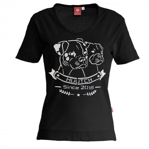 T-Shirt V-Neck - schwarz